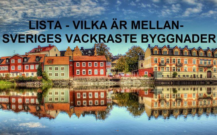 Lista - MellanSveriges vackraste byggnader, dvs vackrast i Södertälje, Söderköping, Strängnäs, Norrtälje, Enköping, Arboga, Askersund, Lindesberg, Torshälla, Trosa, Nora, Flen, Vadstena, Motala, Mariefred, Vaxholm, Nyköping, Eskilstuna, Sigtuna och Köping.