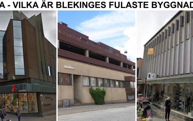 Lista - Blekinges fulaste byggnader, dvs vackrast i Karlskrona, Karlshamn, Ronneby, Sölvesborg.